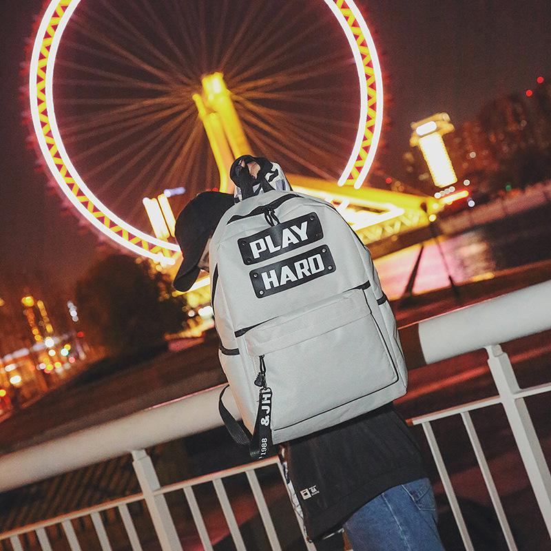 Lucky2019 Shoulders Both Male Trend Canvas Travel Backpack England Joker Computer Package High School College Student A Bag