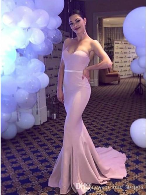 2019 Cheap Pink Mermaid Bridesmaid Dress Sexy Cheap Strapless Long Formal Party Gown Beach Wedding Guest Gown Custom Made