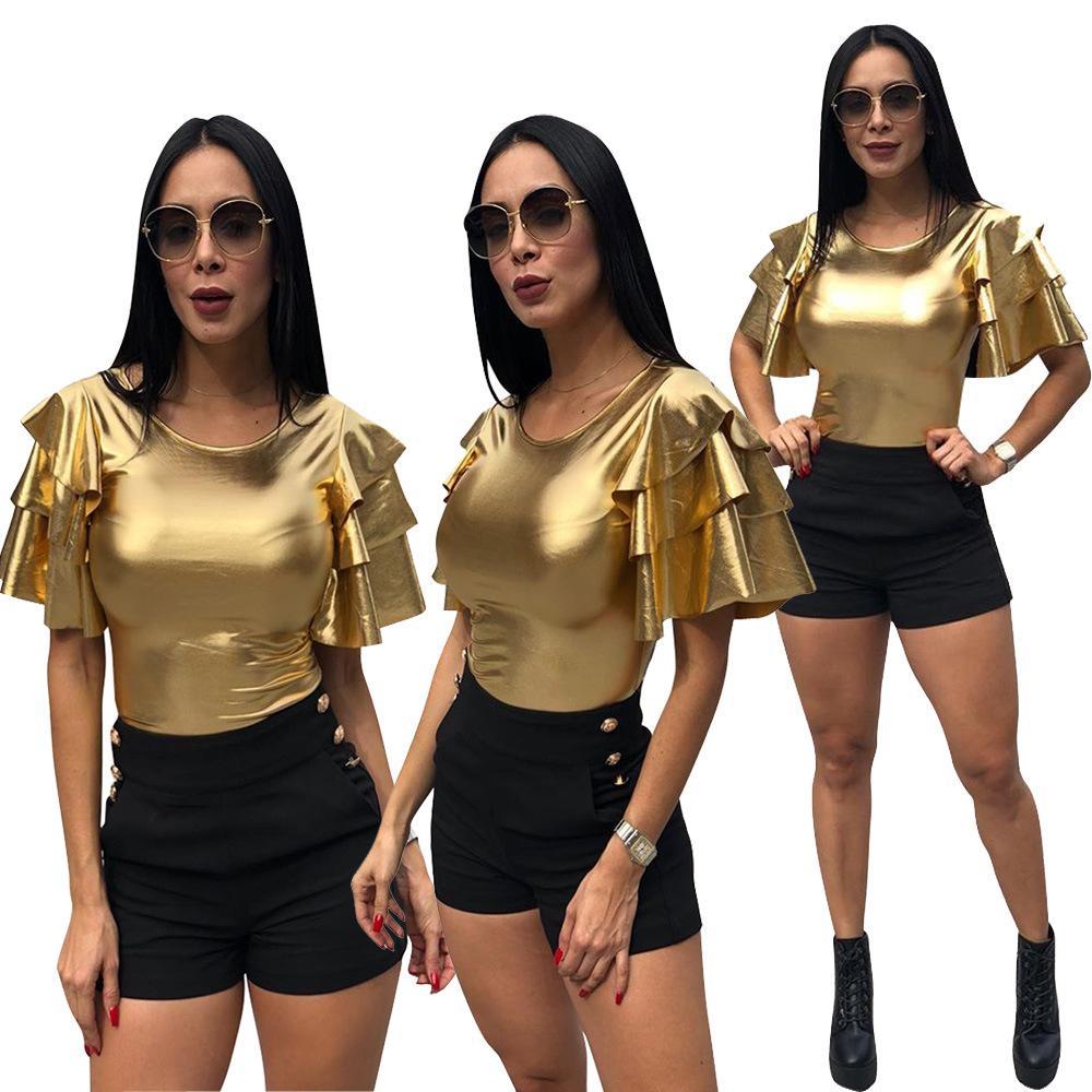 Women Ruffle Short Sleeve T Shirts Satin Gold Bling Slim Fit Club Tops Lady Sexy Street Fashion Personal Tshirt Girls Flare Sleeve Blouse
