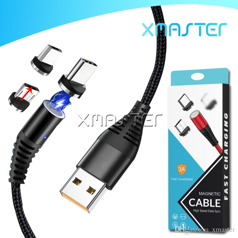 Magnetic USB Sync Data Cable Cord 3 in 1 Nylon Braided Fast Charger Micro V8 Magnet Line Quick Charging with Retail Packaging xmaster