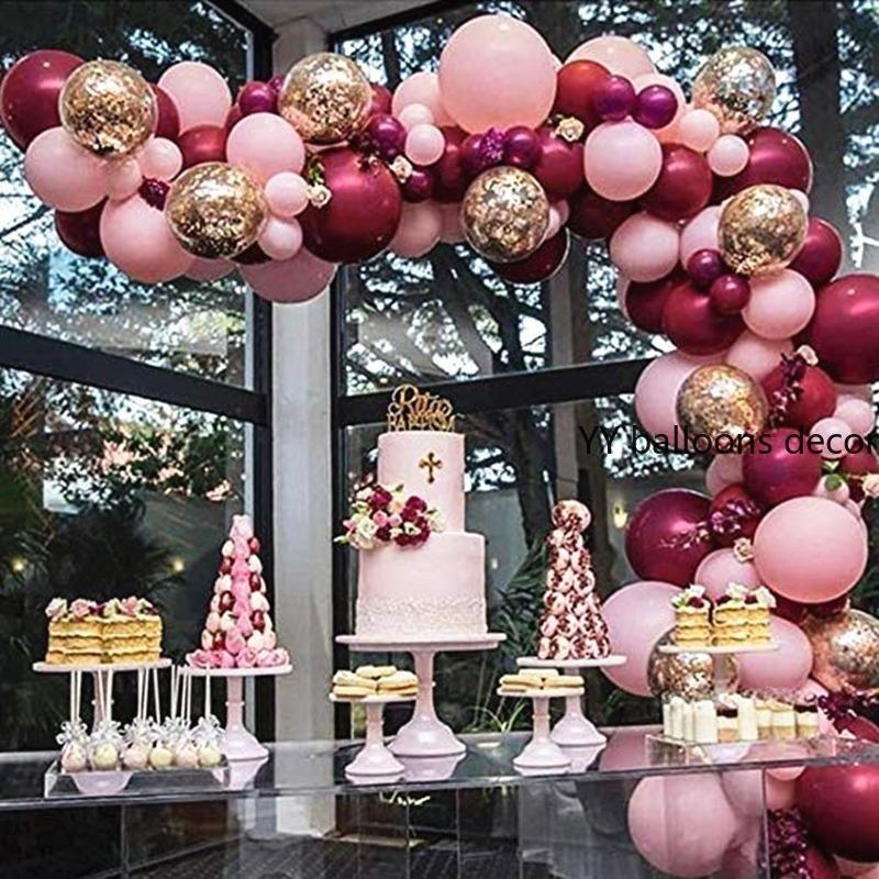 Festa do Natal 102pcs Latex Balões Burgundy Balões Garland Arch Kit Confetti bebê casamento aniversário Decoração Aniversário Partido
