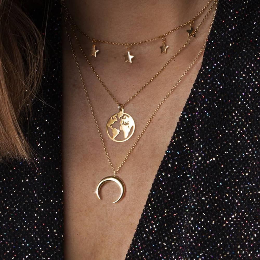 2019 Vintage Étoile Carte Lune Collier pour les femmes de couleur d'or de la mode collier pendentif couches multiples Sautoirs Boho Bijoux