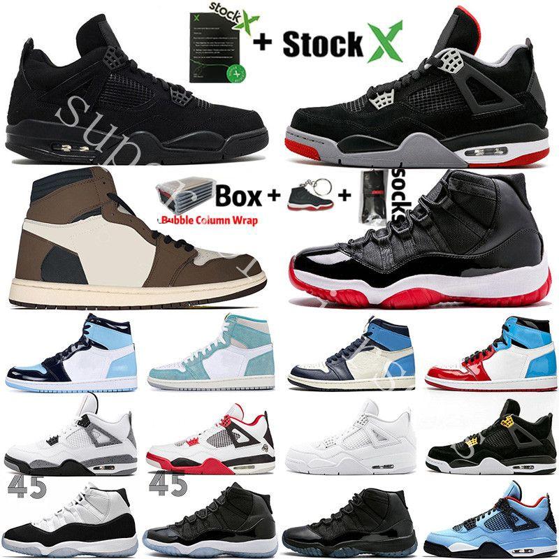 Gato Negro 4 4s nueva Cemento Blanco ¿Qué El 1 1s Zapatos Travis Scotts gris para hombre de baloncesto UNC Bred 11 11s Concord Hombres Deportes zapatillas de deporte de diseño
