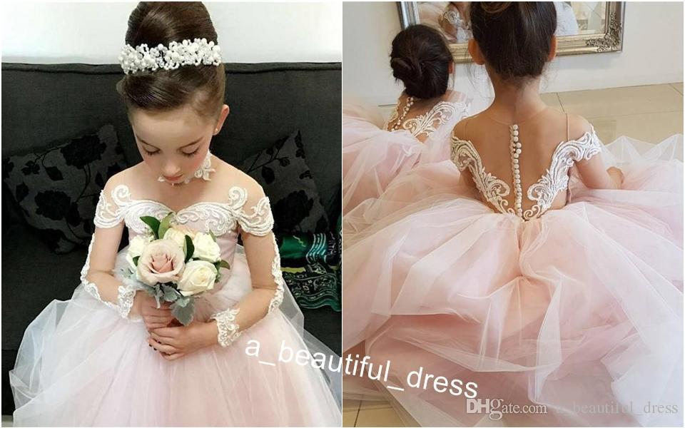 Blush Pink Ball Gown Flower Girls Dresses For Weddings Sheer Neck Long Sleeves Embroidery Tulle Floor Length Children Wedding Dresses FG1250