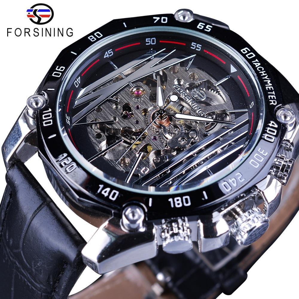 Forsining Mecânica Série Steampunk Militares Sport Watch transparente Esqueleto Dial relógio automático Marca Top Relógio de luxo