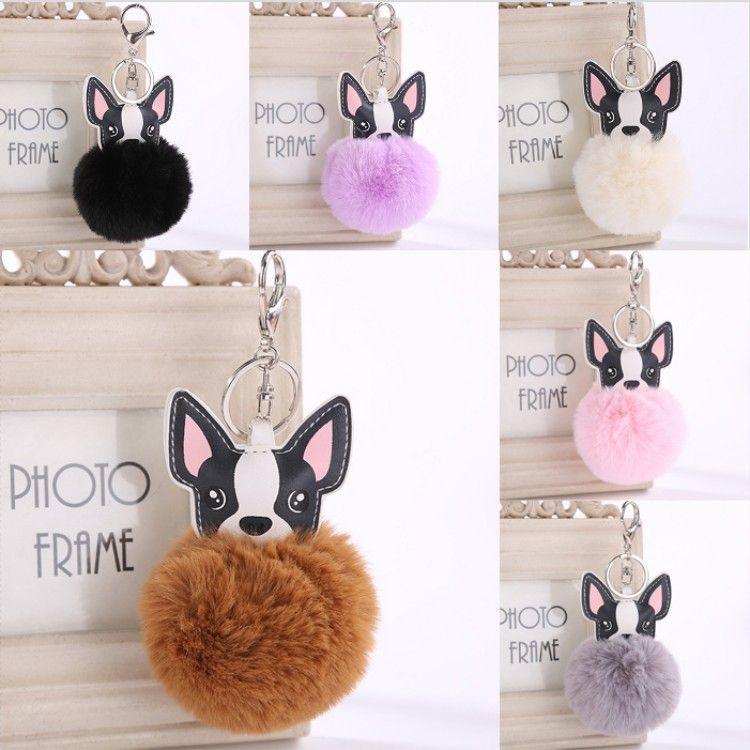 Free DHL Cute Animal Keychain Dog Key Ring Handbag Bag Charm Car Puppy Cell Phone Decor Ornament Wallet Purse Keychains Key Holder D475Q Y