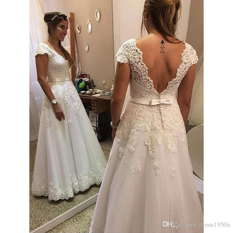 Vintage Lace Appliques a-line Wedding Dresses V-neck Backless Pearls Wedding Gowns Cap Sleeves Bride Dress robe de mariee