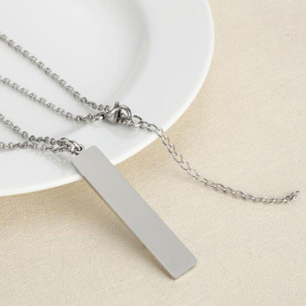 Collar rectangular de acero inoxidable, plata, oro, blanco Colgante personalizado, collar grabado