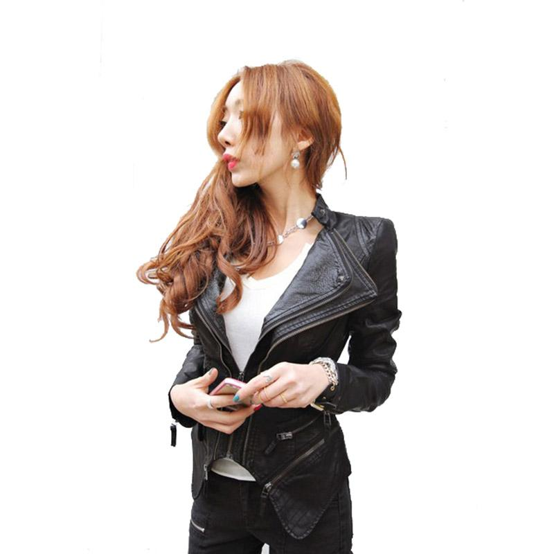 Jacket Asymmetric Motorcycle Moda-Plus revestimento de couro Tamanho Mulheres PU Leather Brasão motociclista Duplo lapelas Zipper Exposed