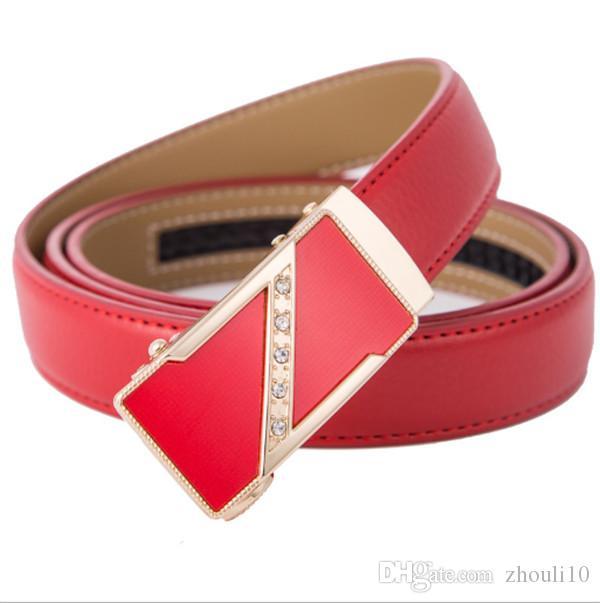 2019 nuova cintura in pelle fibbia automatica rosso versatile amore fibbia all'ingrosso di cuoio della signora di modo cinghia delle donne della cinghia pura mucca