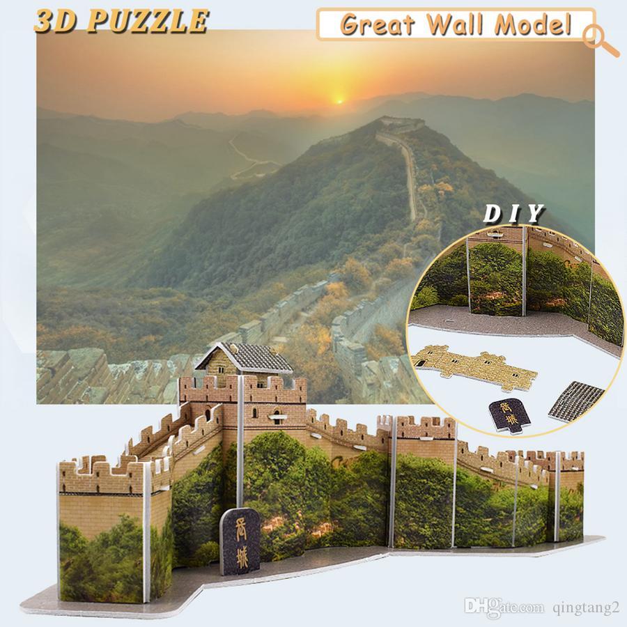 The Great Wall 3D Puzzles Building Model Kit DIY Hecho a mano Montaje Atracciones mundiales Educación Juguetes para niños Regalos creativos Decoración del hogar