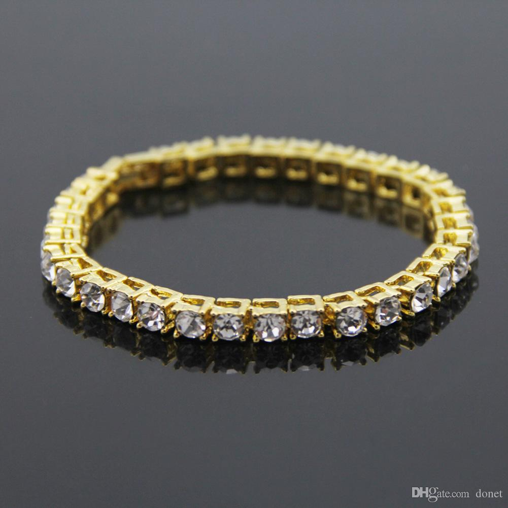 Top Quality New Silver Gold Iced Out 1 Row Rhinestones Chain Bling Crystal Bracelet Women 8 inch Hip Hop Men Bracelet Drop Shipping