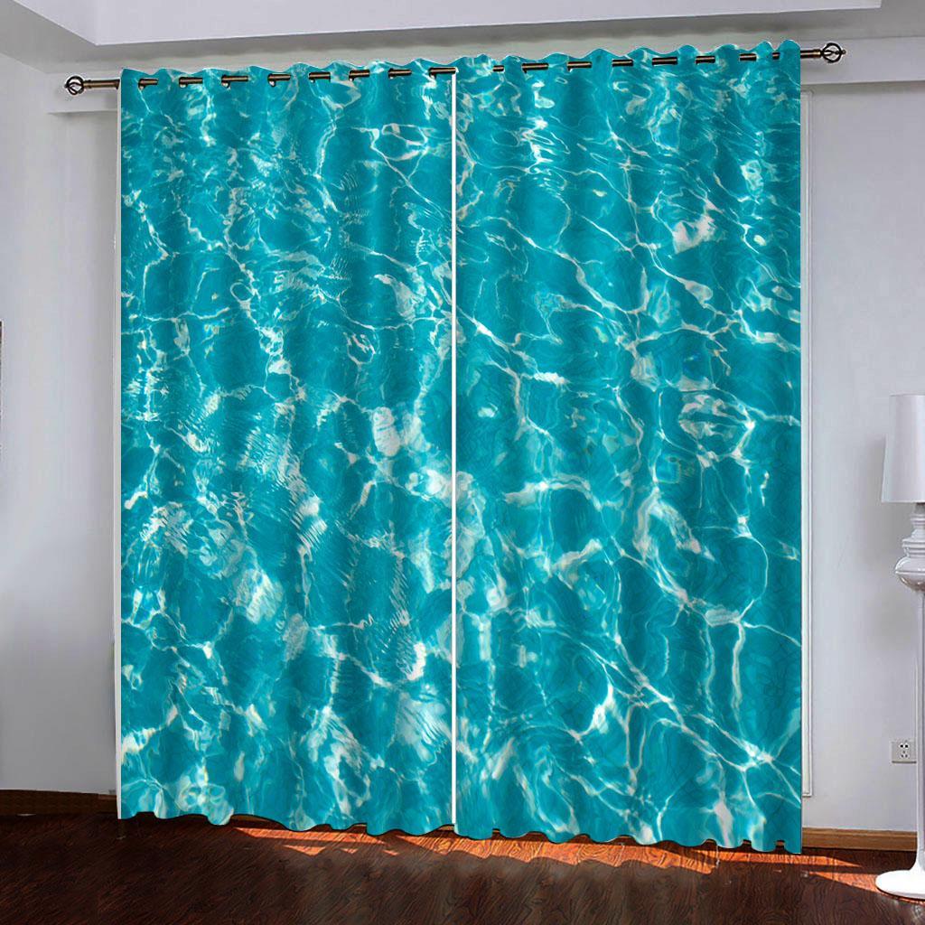 Personalizados 3d cortina azul cortinas de Luxo Blackout 3D Janela Cortinas para sala de estar ondas Quarto cortinas