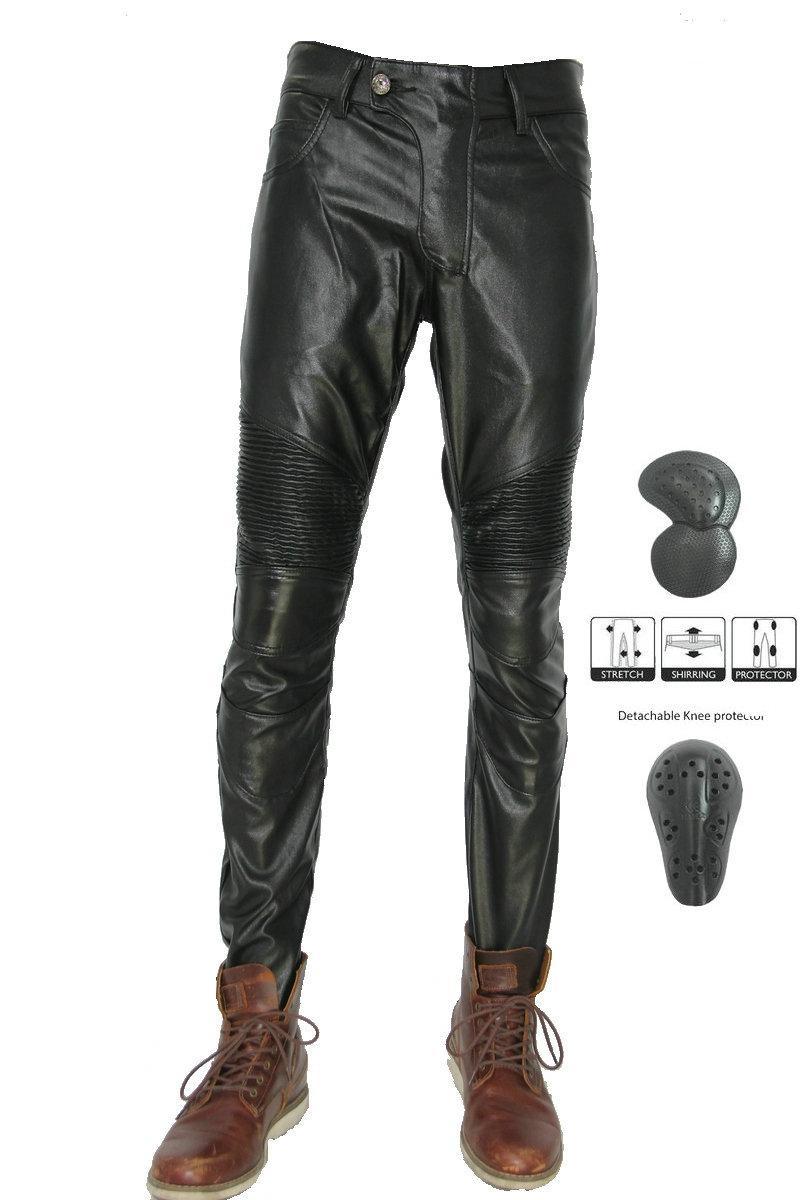ventas calientes Volero motocicleta de la PU de cuero pantalones de montar caballero diaria jeans rectos de protección Moto leisuers deportivos pantalones negros de ciclo