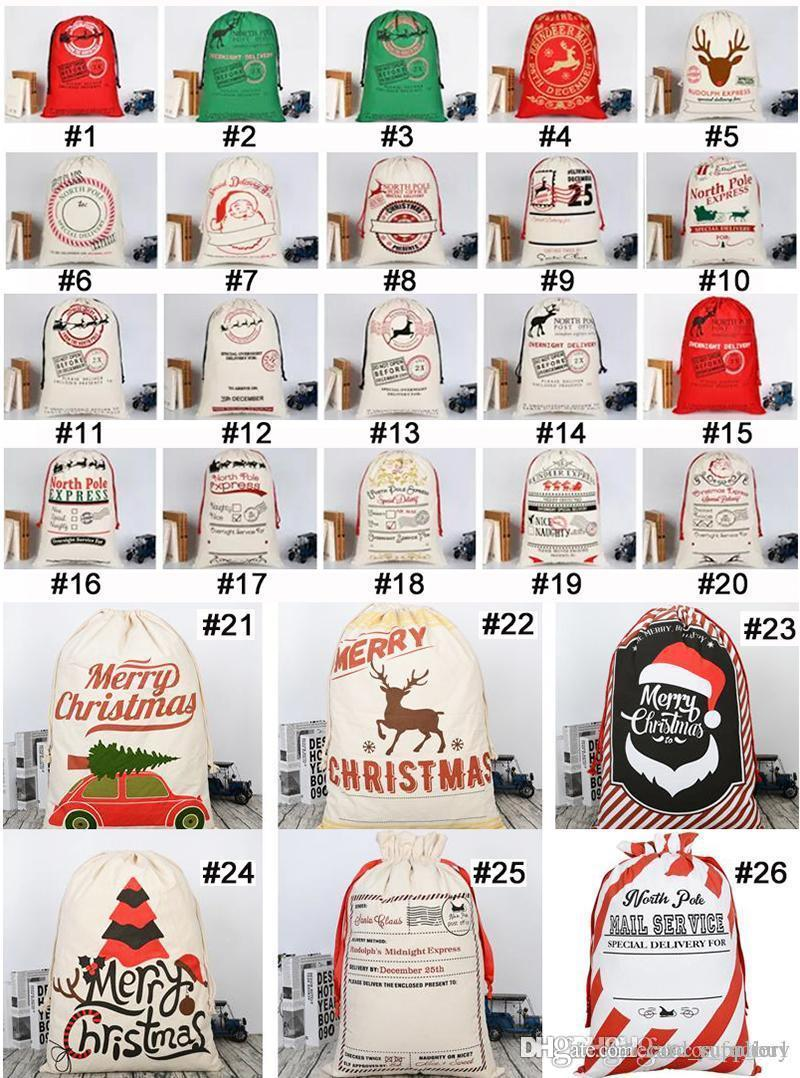 Large Christmas Sacks Santa Present Bag Christmas Gifts Sack Bags Elk Organic Heavy Canvas Bags with drawstring Bag