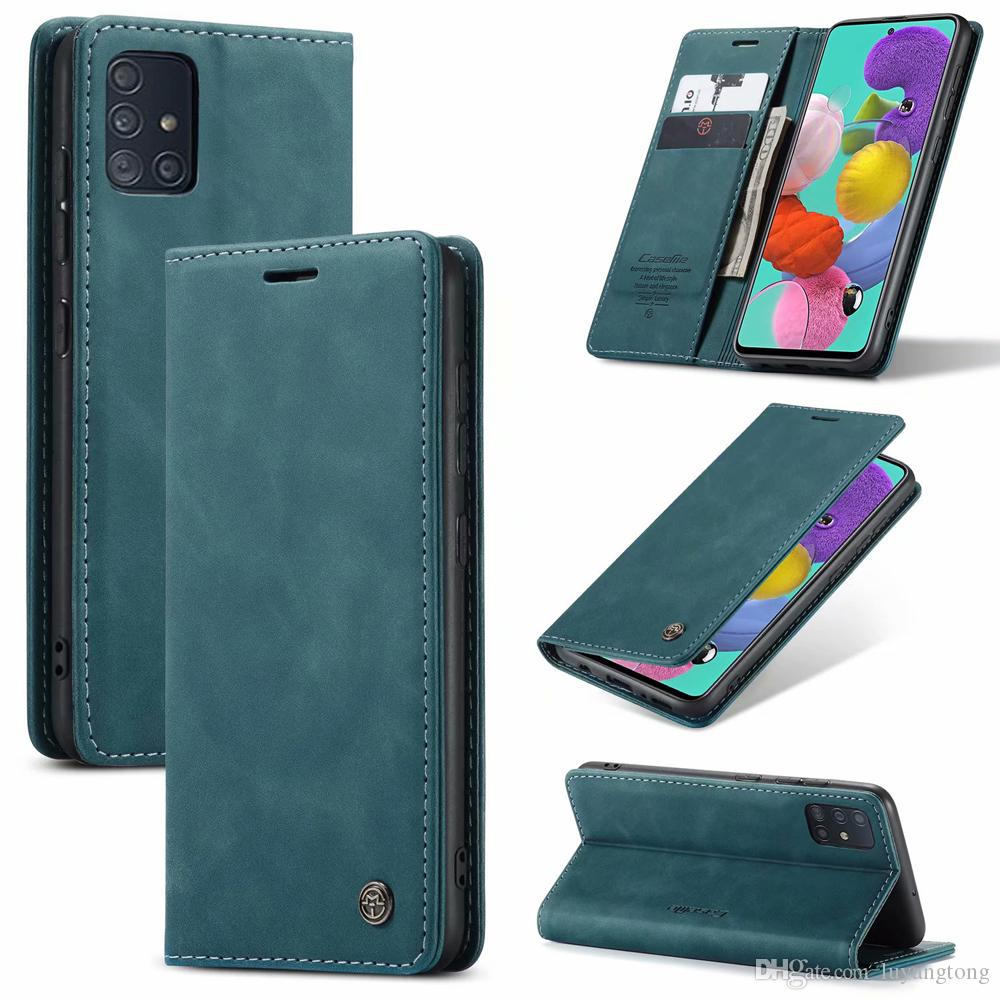 Pour Samsung Galaxy A51 Housse portefeuille d'affaires magnétique en cuir pour Samsung Galaxy A71 A81 A91 Téléphone Cover Coque