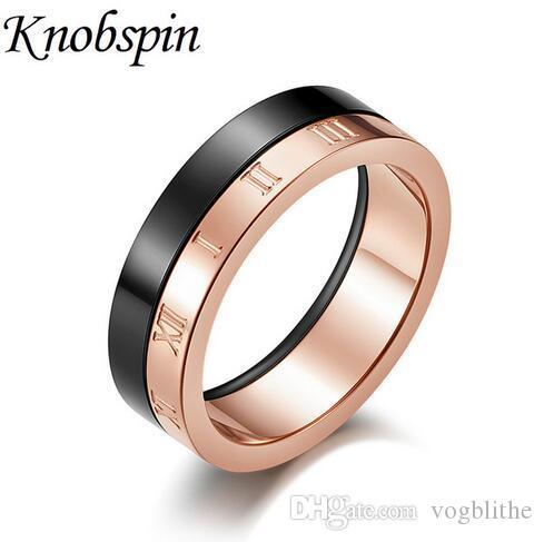 Anelli di numeri romani in acciaio al titanio coreano doppio per le donne Fashion Simple Ring Wedding Band Jewelry Size 7-10 bague femme