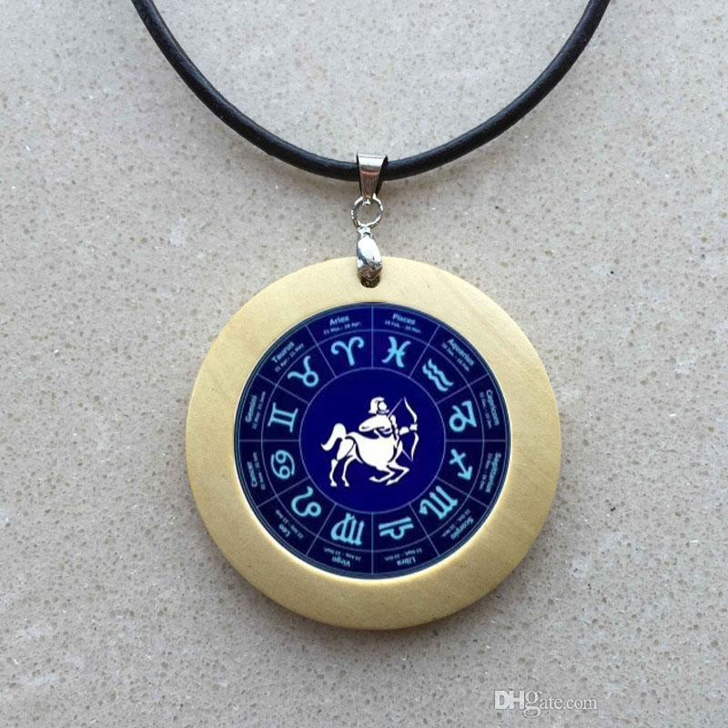 Virgo Sign wooden Necklace 12 Star Constellation silver Pendant Zodiac Horoscope Astrology Disk Cancer Gemini Leo Jewelry