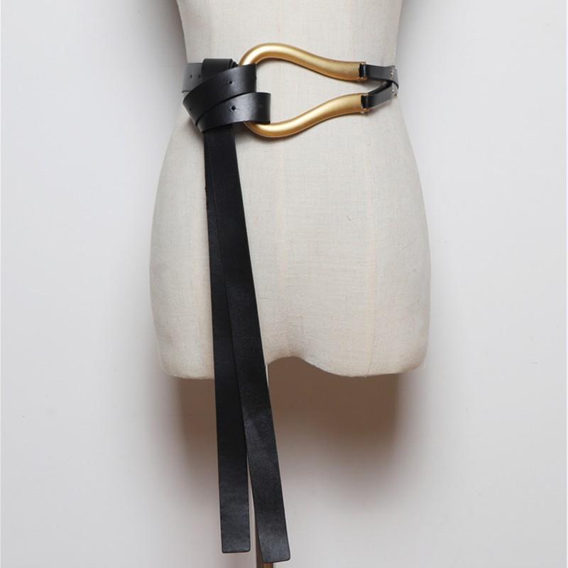 Новейшая мода мягкие искусственные кожаные ремни личность большой сплав пряжки тонкий двойной слой пояса рубашка узловатый ремень длинные ремни