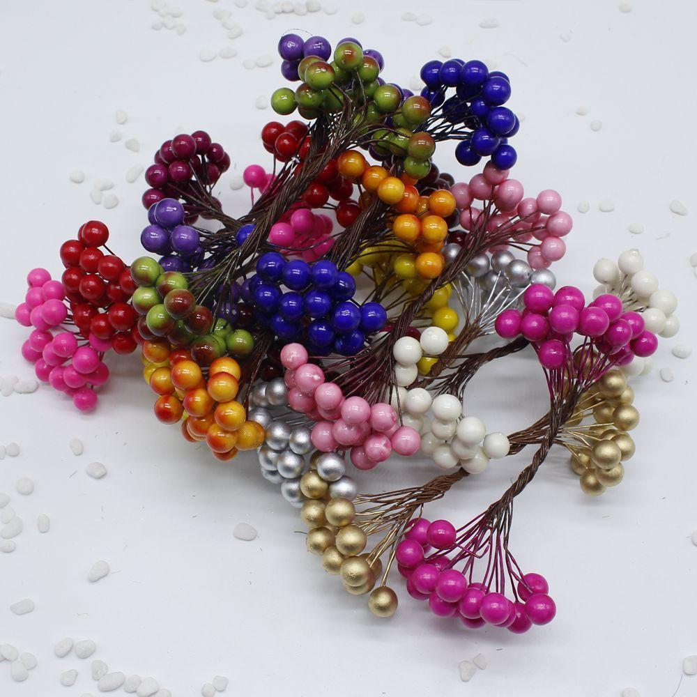Cheap 20Pcs 40 heads 0.6cm Berry Bacca Artificial Flower For Wedding Decoration DIY Decorative Wreath Fake Flowers C18112601