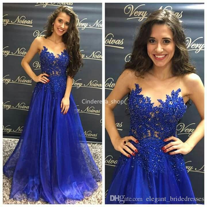 Beautiful Royal Blue Arabic Prom Dresses Long 2019 Sheer Scoop Lace Appliques Sequined Sleeveless Girls Graduation Party Gowns abendkleider