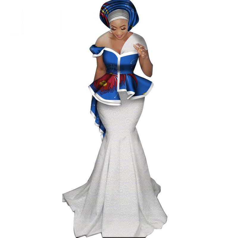 Nova Moda Lace Saia Set para As Mulheres Dashiki Elegante Roupas Africanas Applique Plus Size Roupa Tradicional Africano WY3244