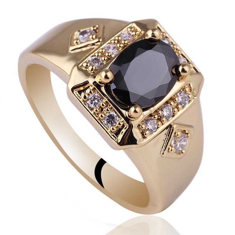 L'oro Uomini ovale nero onice pietra oblunga Base ha placcato l'anello R117 GFLM Size 10 11 12 J8200 Promozione