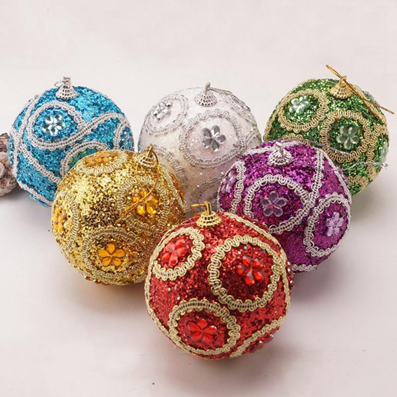 1PCS Boule de Noël 8CM strass Boules scintillantes de Noël Décorations d'arbre Décoration de Noël Décoration Mousse