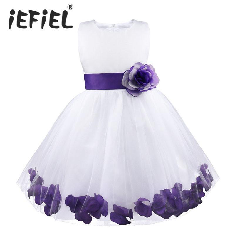 Kinder Infant Mädchen Blütenblätter Kleid Kinder Brautjungfer Kleinkind Elegantes Kleid Pageant Vestido Infantil Tüll Formelle Party Kleid J190506