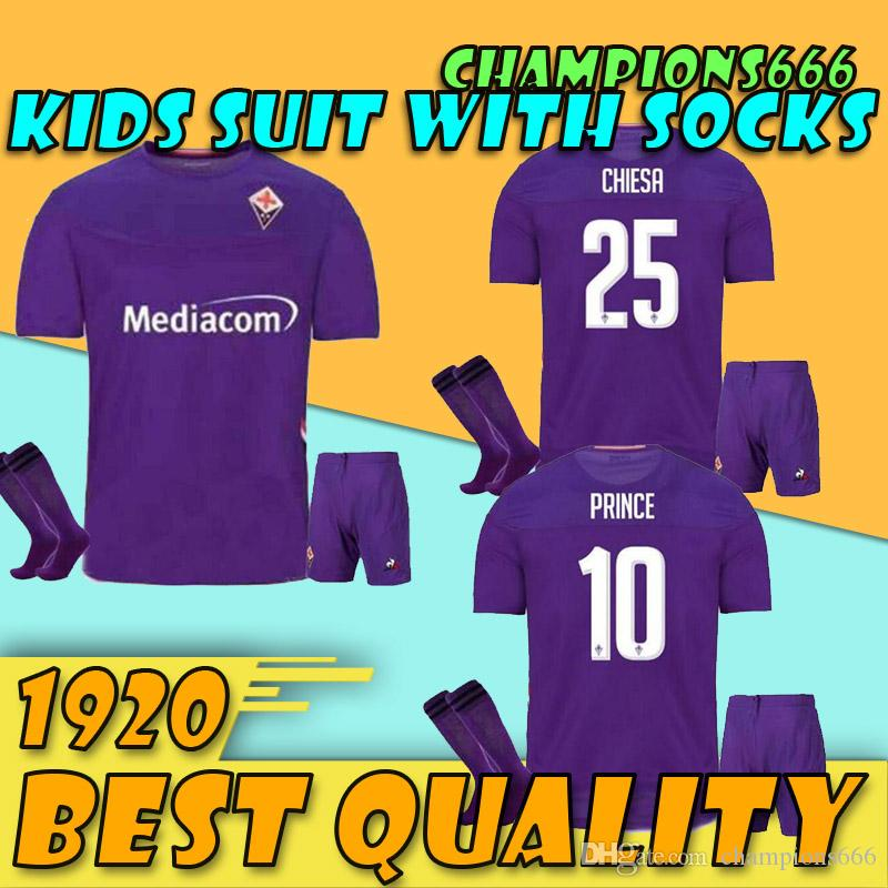 19/20 Fiorentina Kids Kit Home Soccer jerseys 2020 RIBERY SIMEONE RUI COSTA VERETOUT Soccer Shirt BENASSI EDMUNDO Football uniform