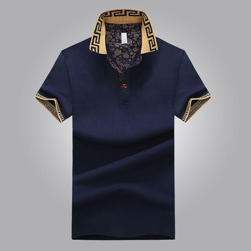 Hot Sales Shirt Luxury Design Homme d'été TURN-Col manches courtes en coton Shirt Men Top EXYI