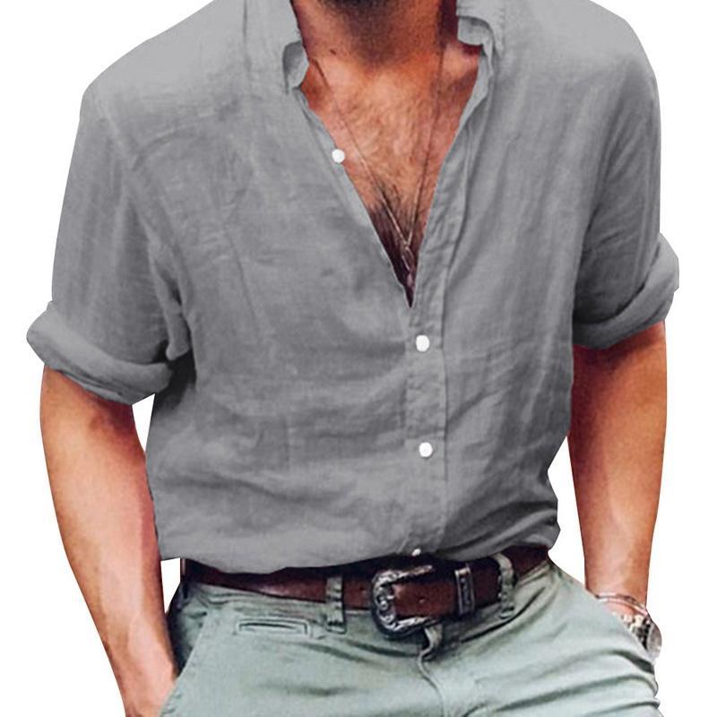 MONERFFI الرجال قميص قميص طويل الأكمام الأعمال العلامة التجارية الكتان ذكر عادية سليم الصلبة الكتان اللباس قميص الرجل S-3XL مثير زر الأعلى