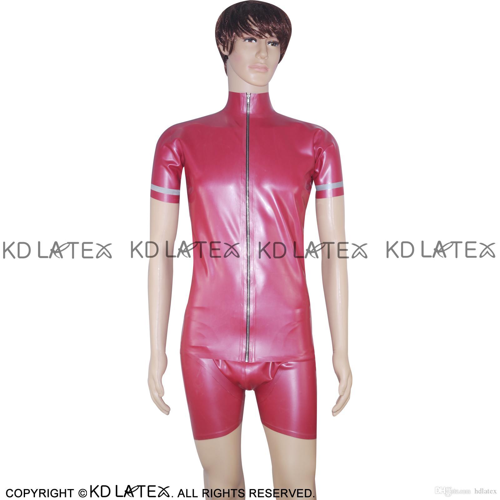 Trim a strisce rosse e argento metallica Giacca in lattice sexy con pantaloncini da pugile Cappotto di gomma Slip 0017
