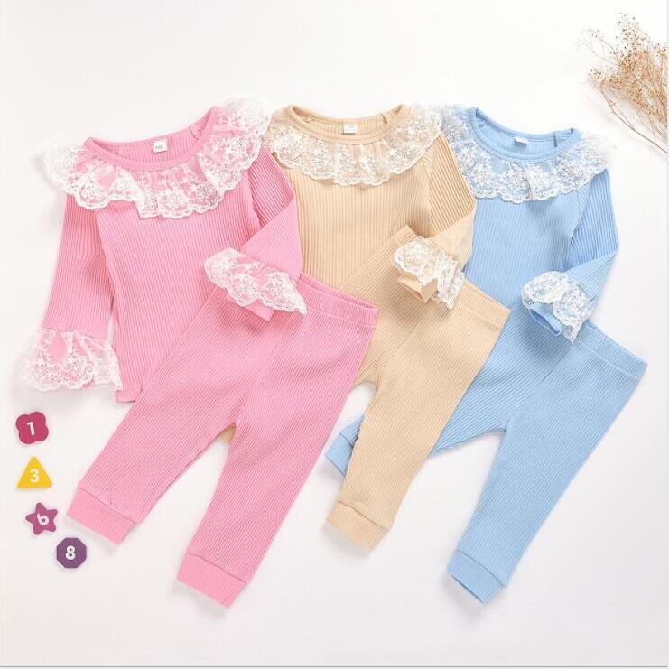 Ropa del bebé Ropa para Niños Encaje bebés fija el artículo Niño Pit mejores juegos de pantalones camisas de manga larga Pantalones Solid Homewear pijamas de CYP640