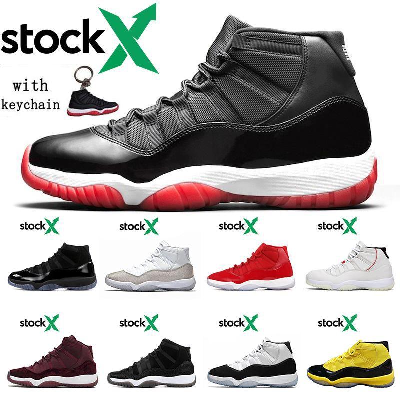 Top Moda Bred 11 zapatos de baloncesto de plata metálico 11s terciopelo rojo Concord 45 del casquillo y del vestido de las zapatillas de deporte para hombre de Platino Tinte Mujeres Entrenadores Deportivos