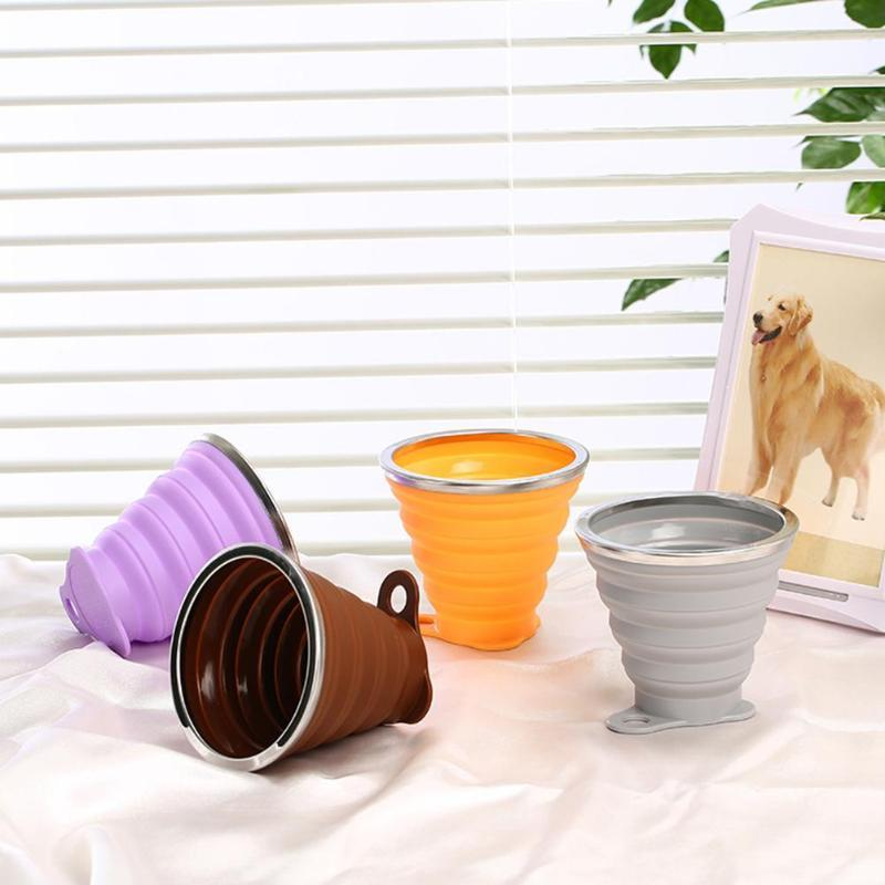 270mL Portable Foldable Silicone Cup Outdoor Travel Camping Picnic Retractable Ultra-thin Drinking Mug Collapsible Water Cups Co