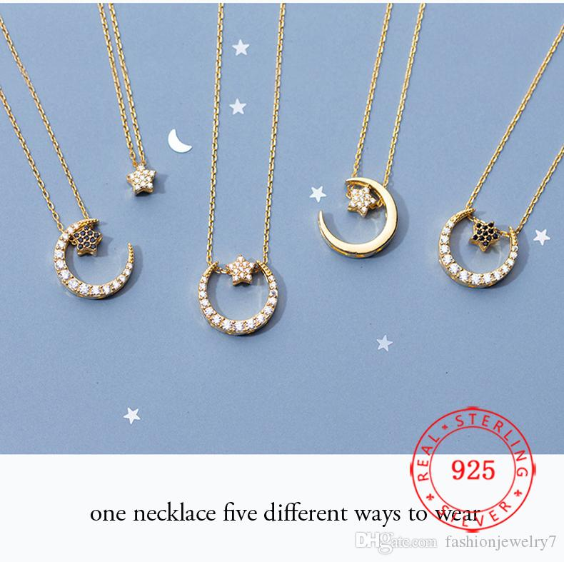 925 sterling silver zircon crescent moon star pendant necklace different wear design for women fashion jewelry wholesale bulk produce