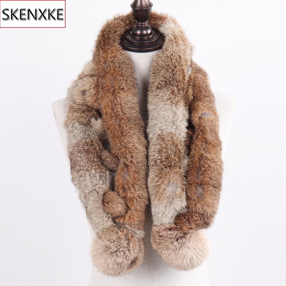 2019 New Russian Women Genuine Fur Long Scarf Winter Ladies Warm Real Rabbit Fur Muffler Knit Fluffy Pompoms Natural Fur Scarves Y200103