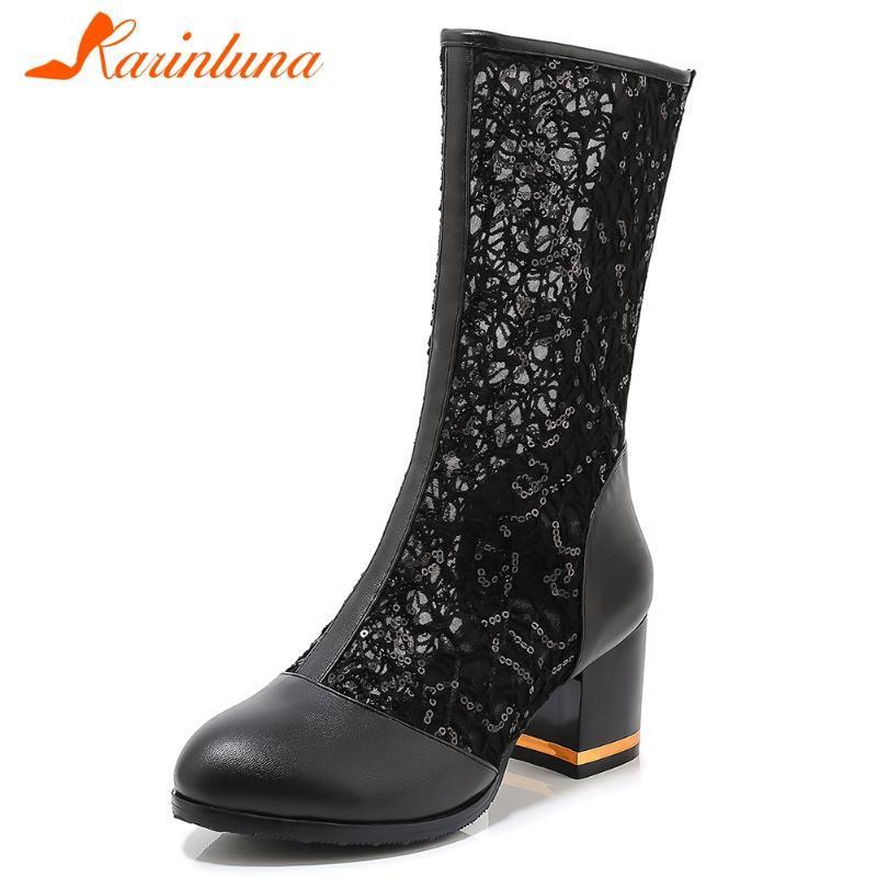 KARIN New 33-43 Ladies 2020 High Heels Bottes mi-mollet respirant Mesh Bottes Femme Chaussures Femme élégante Lumière d'été