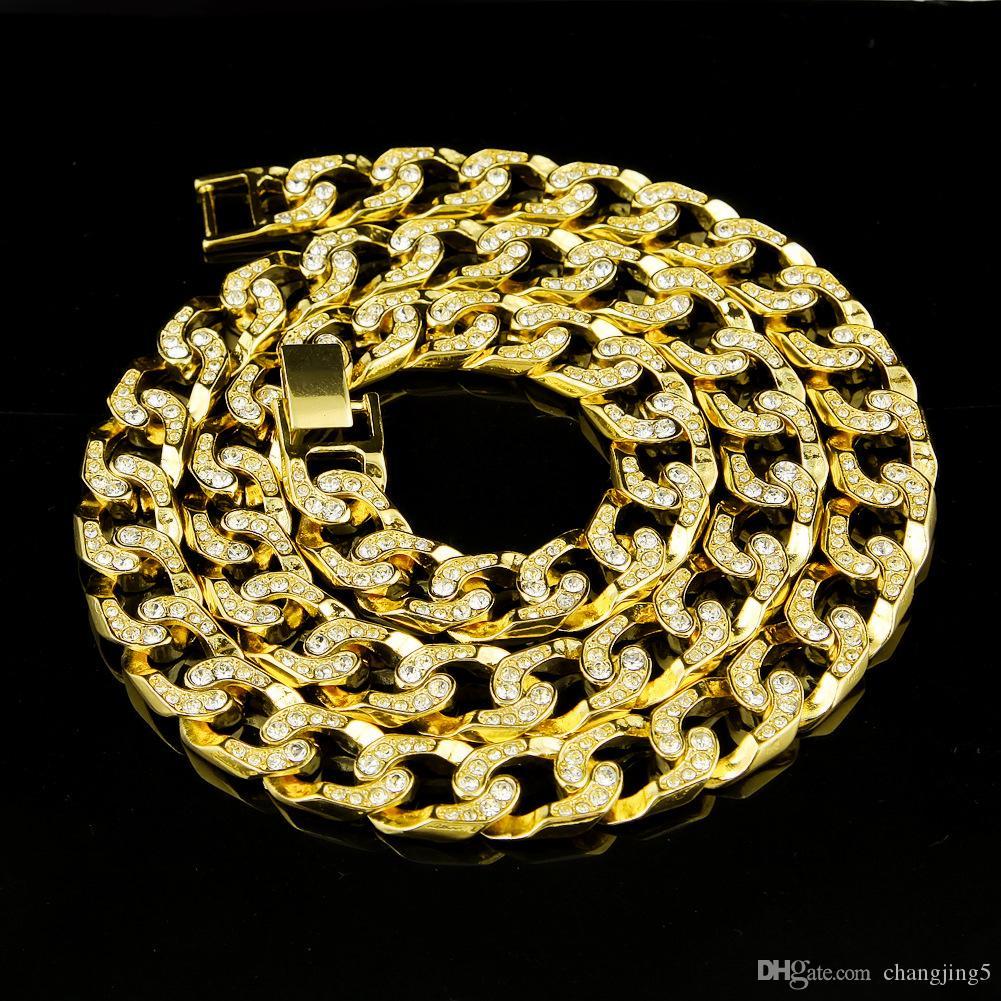 Venta caliente! En toda la cadena de diamante cubana Miami Fashion Collar joyería de Hip hop pesado collar