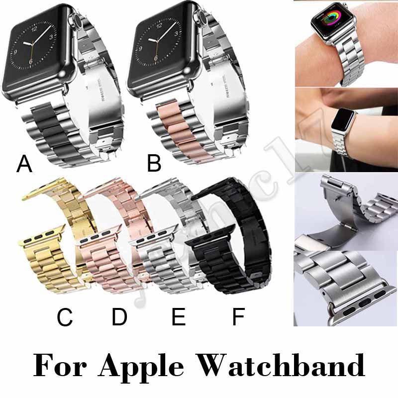 Apple Watch Band Series 4 교체 용 손목 밴드 손목 밴드 어댑터가 달린 스테인레스 스틸 스트랩 메탈 시계 스트랩 iwatch Bands 38/40/42/4