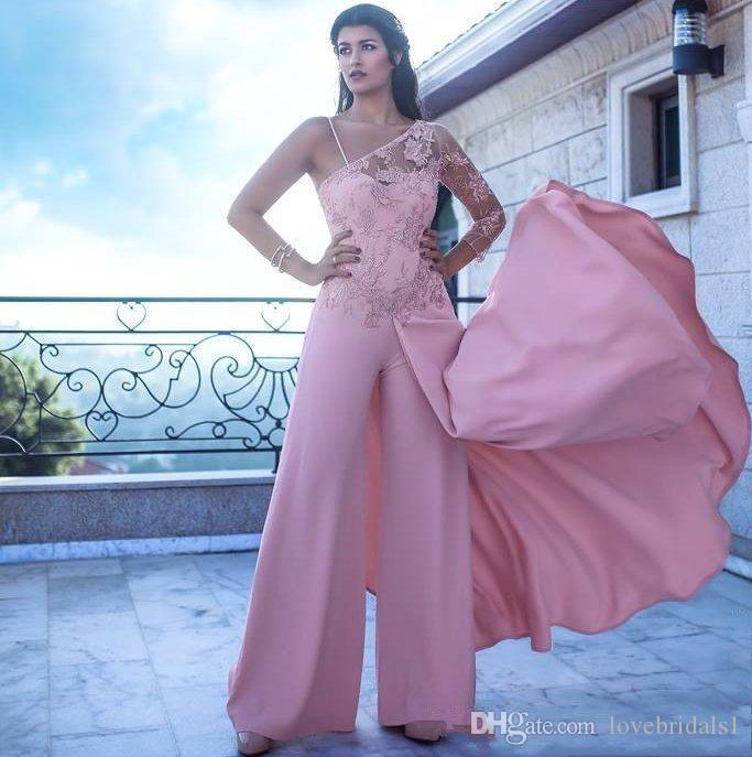 Элегантный комбинезон на одно плечо с длинными рукавами Формальное Вечернее платье на заказ Вечерние платья плюс размер 2019