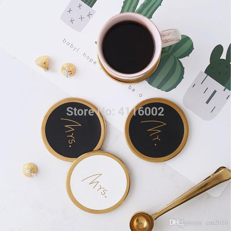 20pcs Couple Marble Pattern Ceramic Drink Coaster Coffee Cup Mat Tea Pad Dining Table Mr Mrs Placemats Wedding Gifts
