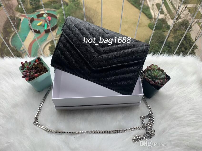 Designer crossbody saco caviar envelope de couro clássico sliver ouro cadeia de ombro bolsas bolsas de luxo bolsas