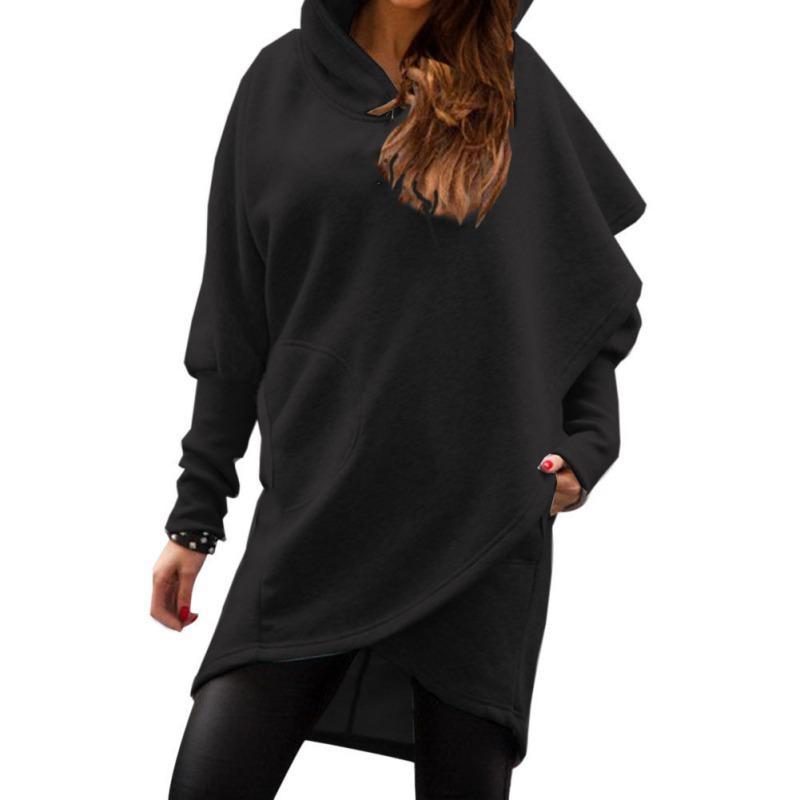 المرأة هوديس بلوزات الأزياء غير النظامية البلوز ربيع الخريف المرأة الصلبة اللون الإناث الملابس الأساسية