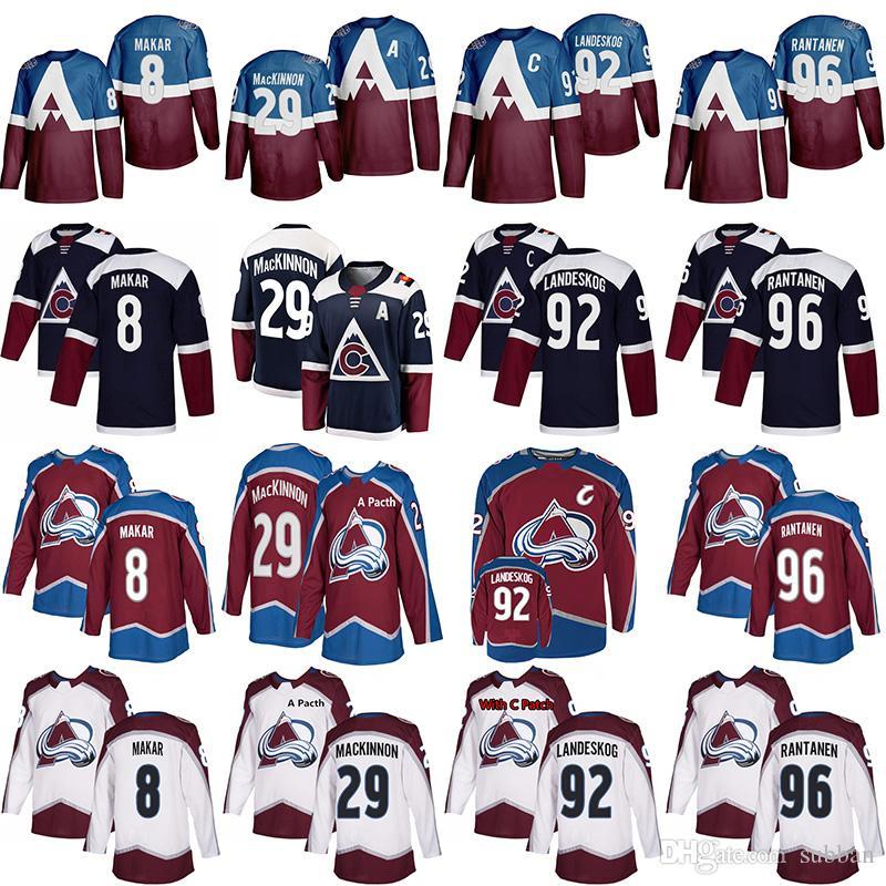 2020 Stade Colorado Avalanche Jersey 8 Cale Makar 29 Nathan Mackinnon 92 Gabriel Landeskog 96 Mikko Rantanen Hockey Jerseys