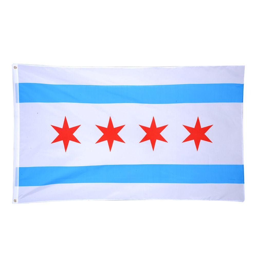 Großhandelsfabrikpreis 3 x 5 Ft 90 * 150 cm Print Polyester uns usa Zustand chicago Chicagoans Flagge