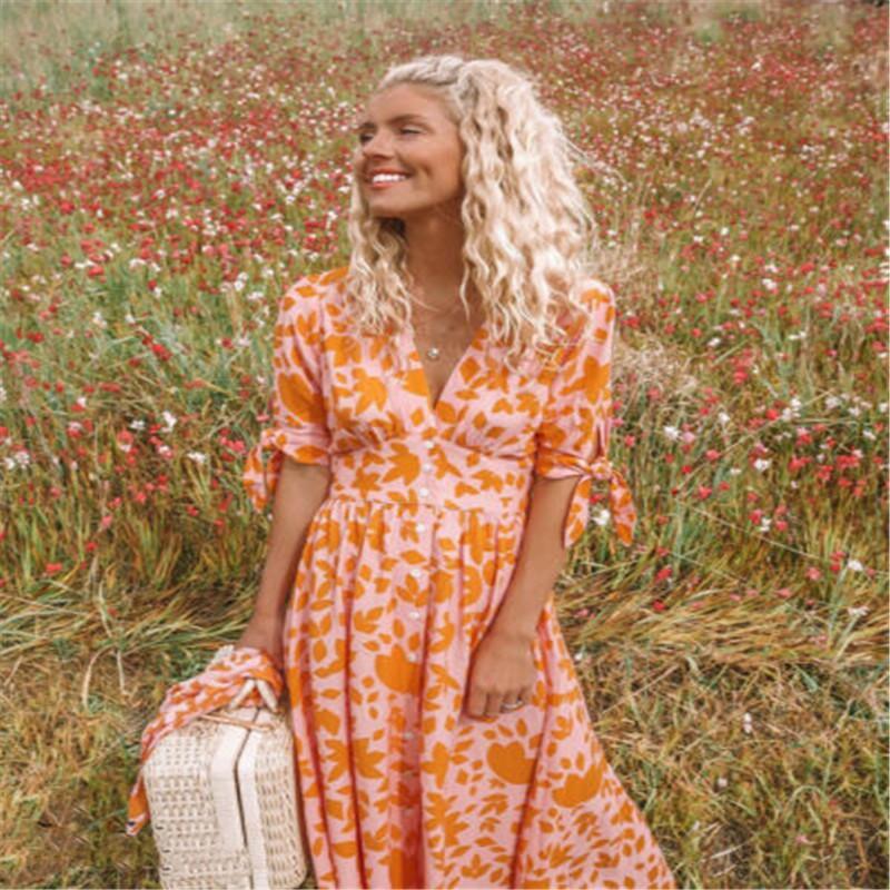 EUA Mulheres Boho Floral Longo Maxi Vestido Evening Party Beach Dresses Summer Sundress
