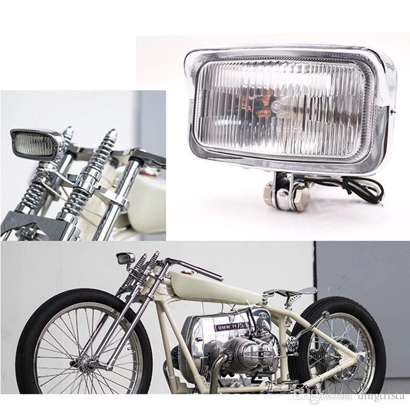 TKOSM Motorcycle Vintage Farol Retângulo Frente Âmbar cabeça da lâmpada universal para Softail Bobber Criusers Choppers Cafe Racer