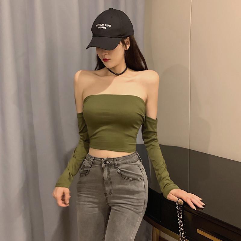 Kragen Langarm-T-Shirt Figur war dünn Gurt kurzer Absatz lo shi Jackenfrau 2019 Herbst Art und Weise sexy Hong Kong Geschmack